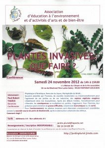conférence de Paul-Robert TAKACS : PLANTES INVASIVES : QUE FAIRE ?